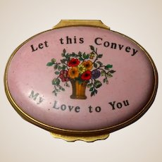 """HALCYON DAYS """"Let This Convey My Love To You""""  Enamel Heart Trinket Box, From England"""