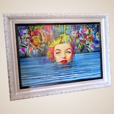 """MARC RUDINSKY -VERY LARGE And Exciting """"Marilyn Emerges"""" -Wonderful Multi-Media Artist Who's Work Is Reaching New Heights In Buyers' Appreciation"""