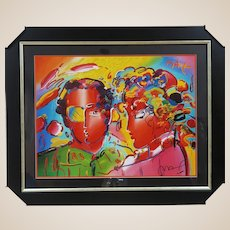 PETER MAX (German/American b. 1937) - Signed Mixed Media On Paper, With An Original Sketch, and COA from Artist