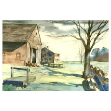 "Original Signed Watercolor On Paper, ""The Farm"" - Artist C. B. Mackay. 20th Century American School"