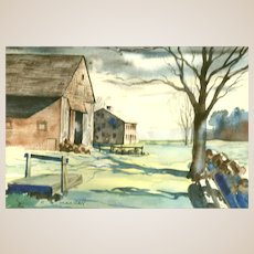 "Original Signed Watercolor On Paper, ""The Farm"" - Artist C. B. Mackay. 20th Century American School"