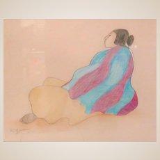 "R. C. GORMAN  (1932 - 2005) - Original Hand Signed Pastel Watercolor ""Woman In Blue Blanket"" Dated 1977"