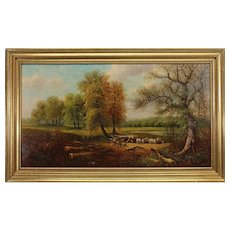 "GEORGE HARRIS (United Kingdon, 1847 - 1915) - Original Signed Oil On Board ""My Whitchurch"" Signed, Dated 1899"