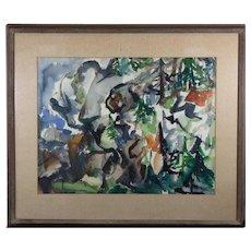 YOLANDA FUSCO (Czech 1920 - 2009) - Original Signed Abstract Watercolor