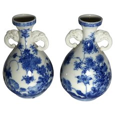 PAIR of Japanese Saito Blue and White Porcelain Bud Vases with Elephant Head Handles, Signed