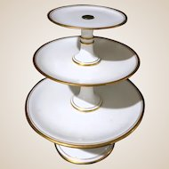Exquisite Three Tier Porcelain Cake or Dessert Stand With Gold-Colored Rims - Or Hors D'oeuvres!