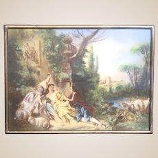 "Italian Enamel On Copper Plaque - ""La Vie Champetre"""