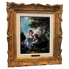 "LIMOGES France Signed Enamel Painting on Copper ""L'Automne (d'apres Boucher)"". Signed R. Restoueix"