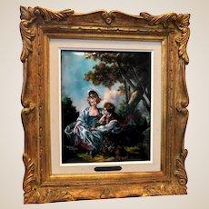 """LIMOGES France Signed Enamel Painting on Copper """"L'Automne (d'apres Boucher)"""". Signed R. Restoueix"""