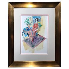 "ITZCHAK TARKAY  (Israeli, 1935 – 2012) -ORIGINAL Signed Watercolor On Paper ""Lady in the Multicolored Chair"" With COA"