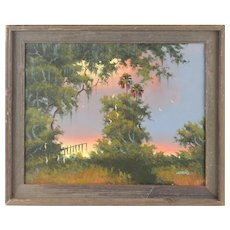 "WILLIE DANIELS (American Born 1950) - Florida Highwayman Original Signed Oil  ""sunset At The Marsh"""