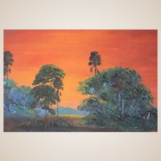 "Charles ""Chico"" Wheeler (American b. 1948) Florida Highwayman Original Signed Oil ""Sunset"" - One Of The Original Florida Highwaymen"