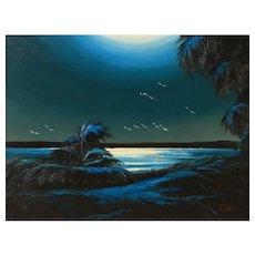 "Original Florida Highwaymen JAMES GIBSON (American 1938 - 2017) - Original Signed Oil on Board ""Moonlit Water"""