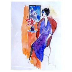"ITZCHAK TARKAY (Israeli, 1935 – 2012) -ORIGINAL Signed Watercolor On Paper ""Lady in the Red Chair"" With COA"