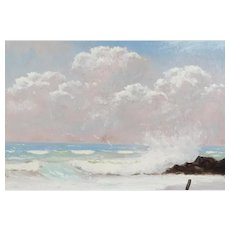 "R. A. McLENDON (American, Florida Highwaymen,  b. 1932) - Original Signed Oil ""Perfect Day At The Beach"""