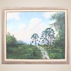"R. A. McLENDON (American Highwayman b. 1932) - Original Signed Oil ""Trail Through Florida's Backwoods"""""