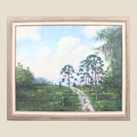 "R. A. McLENDON (American Highwaymen b. 1932) - Original Signed Oil ""Trail Through Florida's Backwoods"""""