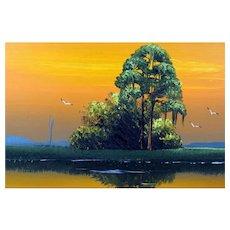 "AL BLACK - An Original Florida Highwayman Artist - ""Sunset On The Marsh"" - Original Signed Oil On Canvas"