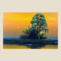 "AL BLACK - An Original Florida Highwaymen Artist - ""Sunset On The Marsh"" - Original Signed Oil On Canvas"