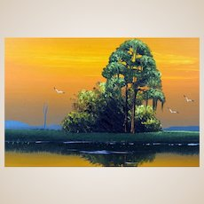 "AL BLACK - An Original Florida Highwaymen Artist - ""Sunset On The Marsh"" - Original Signed Oil On Canvas"