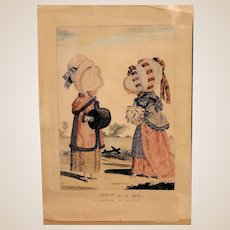 """Antique Color Print """"How Do Ye Do.  A Prologue To Scandal"""" 19th Century"""