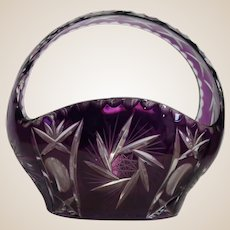 Amethyst Purple Cut to Clear Glass  Basket With Handle