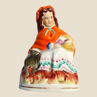 STAFFORDSHIRE Pottery  (England) - 19th Century Figural Little Red Riding Hood With The Wolf