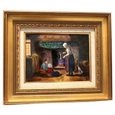 "LIMOGES France Signed Enamel Painting on Copper - ""Making Dinner"" -  Signed R. Restoueix"