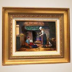 "LIMOGES France Signed Enamel Painting on Copper - ""Making Dinner"" -  Signed R. Restoueix"