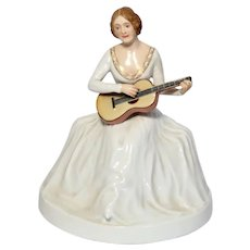 ROSENTHAL Selb, Bavaria - Rare Lady With Guitar Porcelain - Signed -