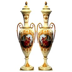 PAIR Antique French Sevres Hand-Signed Porcelain Urns
