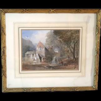 "John Skinner Prout (British 1806–1876) Original Antique Watercolor ""The Water Mill"""