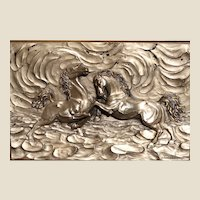 """Large and Exciting Signed Bronze Sculpture of Horses - """"Prelude"""" in High Relief - Framed."""