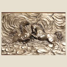 """Very Exciting Signed Bronze Sculpture of Horses - """"Prelude"""" in High Relief - Framed."""