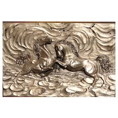 "Large and Exciting Signed Bronze Sculpture of Horses - ""Prelude"" in High Relief - Framed."