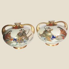 PAIR of Japanese Satsuma Gilt, Hand-Painted and Enameled Porcelain Two-Handled Bud Vases