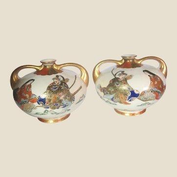 PAIR of Japanese Satsuma Gilt, Hand-Painted and Enameled Porcelain Two-Handled Bud Vases