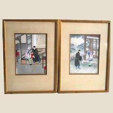 Pair of Chinese School Vintage Watercolors.