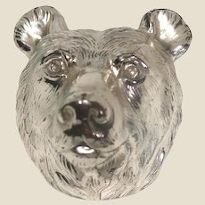 Paperweight - Bear In Silver-Toned Metal.  Pair This With A Bull Paperweight That We Have Listed, And You have The Perfect Stock Market Pair!