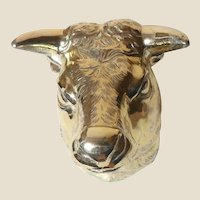 Paperweight - Bull or Cow In Silver-Toned Metal.