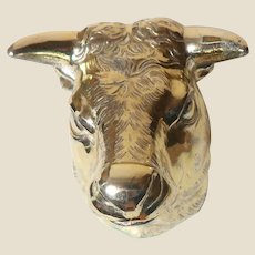 Paperweight - Bull or Cow In Silver-Toned Metal.Pair This With A Bear Paperweight That We Have Listed, And You have The Perfect Stock Market Pair!