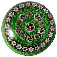 PARABELLE Outstanding Paperweight With Clichy Style Roses And Pansies, Moss Ground. Signed/Dated Artist Proof  1994