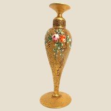 Exquisite DeVilbiss Art Deco Perfume Bottle- Gilt Bronze And Enamel  Circa 1910-1930.