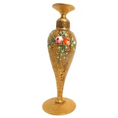 Exquisite DeVilbiss Art Deco Perfume Bottle- Gilt Bronze And Enamel  Circa 1910-1930.