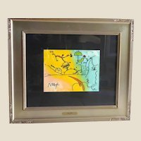 """PETER MAX (born Peter Max Finkelstein, October 19, 1937) - RARE One-Of-A-Kind """"Umbrella Man Landscape"""" -Signed, Watercolor and Mixed Media, With COA"""