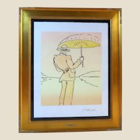 """PETER MAX (born Peter Max Finkelstein, October 19, 1937) - RARE One-Of-A-Kind """"Umbrella Man"""" -Signed, Mixed Media, With COA"""