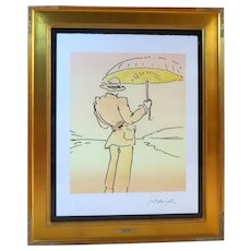 "PETER MAX (born Peter Max Finkelstein, October 19, 1937) - RARE One-Of-A-Kind ""Umbrella Man"" -Signed, Mixed Media, With COA"