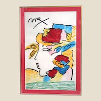 """Peter Max (American, b. 1937) ORIGINAL ONE-OF-A-KIND Signed """"Lady In Profile"""" - Marker on Paper"""