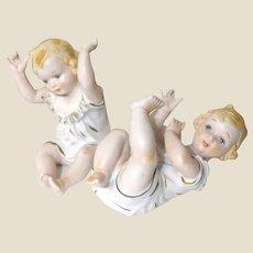 PAIR OF PIANO BABIES!  Adorable Vintage Bisque Porcelain.