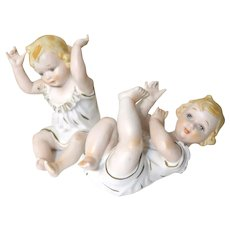 PAIR OF PIANO BABIES!  Adorable Vintage Bisque Porcelain.